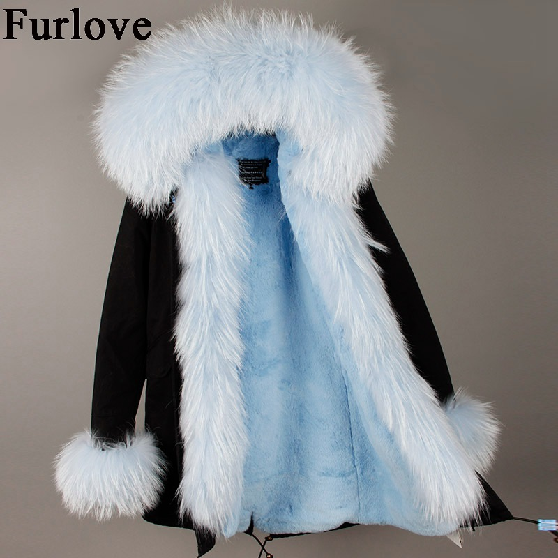 Womens Winter Jacket Women Coat Jackets Real Raccoon Fur Collar Hooded Coats Casual vintage Warm Thick Parka Black Long Parkas 2017 winter new clothes to overcome the coat of women in the long reed rabbit hair fur fur coat fox raccoon fur collar