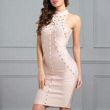 INDRESSME 2017 New Women Sexy Solid Sleeveless Rivet Tank O-Neck Summer Dress