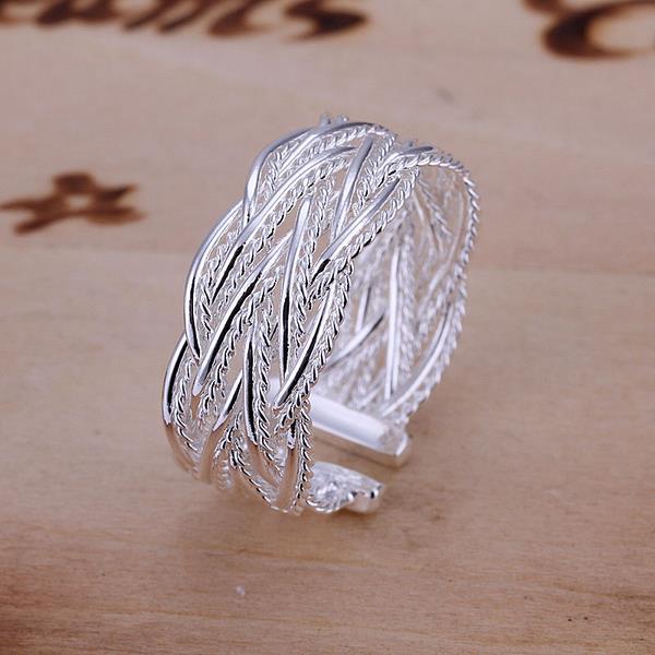 Unisex Fashion Crossed Net Web Weave Style Open Ring For Women Men Gift Silver Jewelry Finger Rings 88 CX17