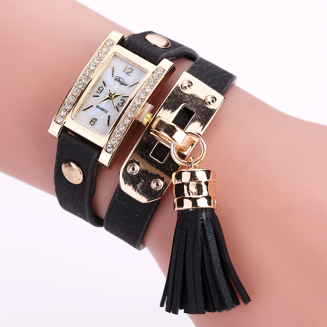 Fashion Brand Duoya Women Casual Rectangle Analog Quartz Women Rhinestone Watch