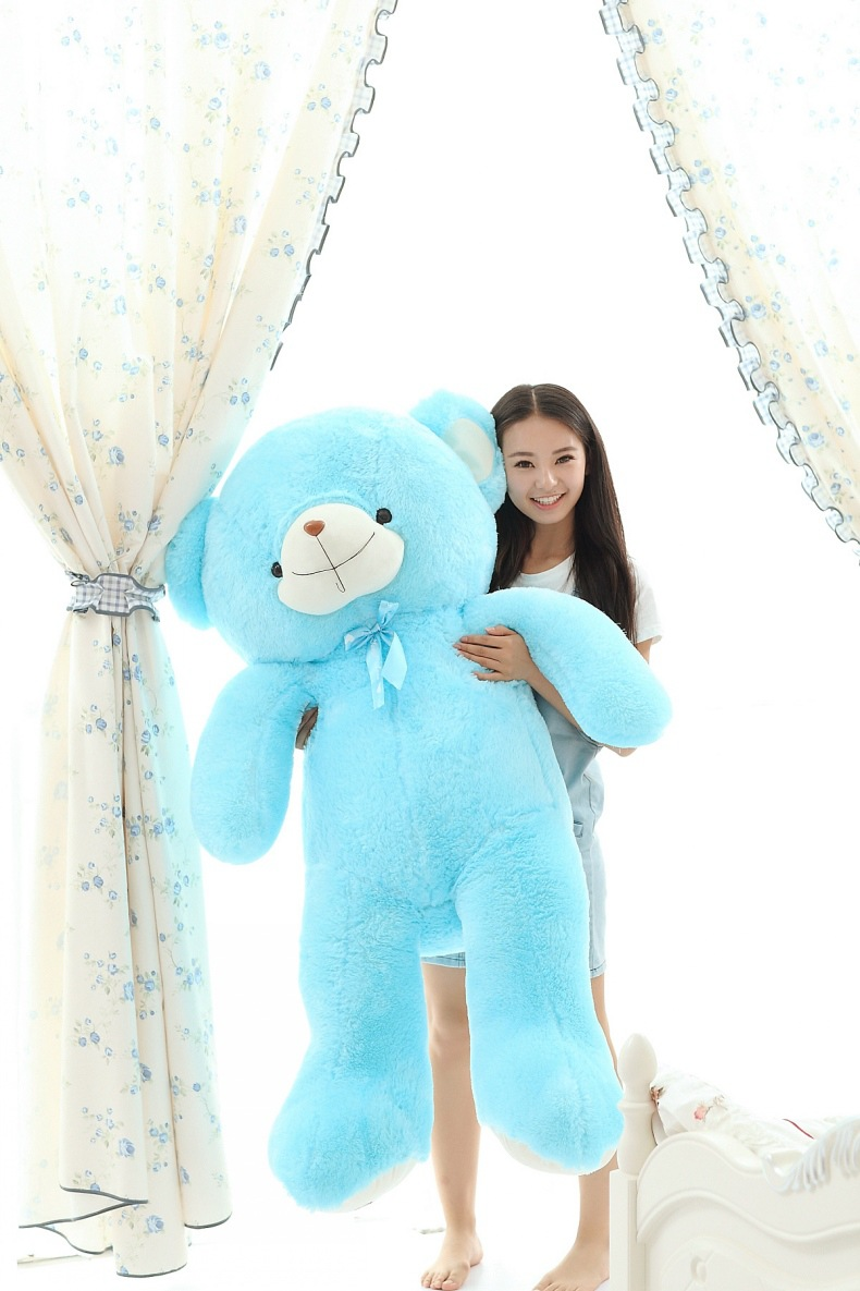 big new plush bow teddy bear toy huge blue bear doll birthday gift about 150cm s2947
