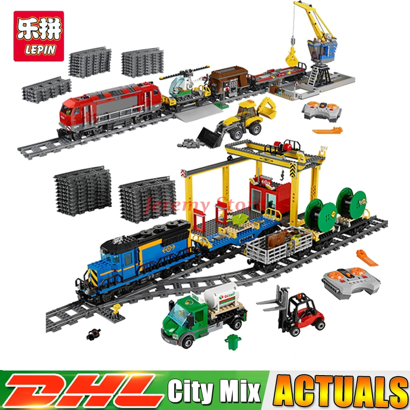 Lepin City Series 02008+02009 Educational Building Blocks Bricks Model Toys For Christmas Gifts Clone 60052 60098 lepin 02008 the cargo train 959pcs city series legoingly 60052 plate sets building nano blocks bricks toys for boy gift
