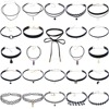 24 Pcs Set Girls Black Lace Sexy Fashion Stament Choker Necklace With Cute Pendant Adustable Size