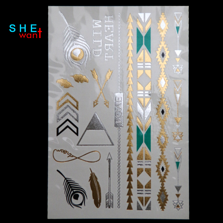 DIY Flash Tattoos Gold Silver Metalic Temporary Tattoos Gold necklace Feather Tattoo Wholesale