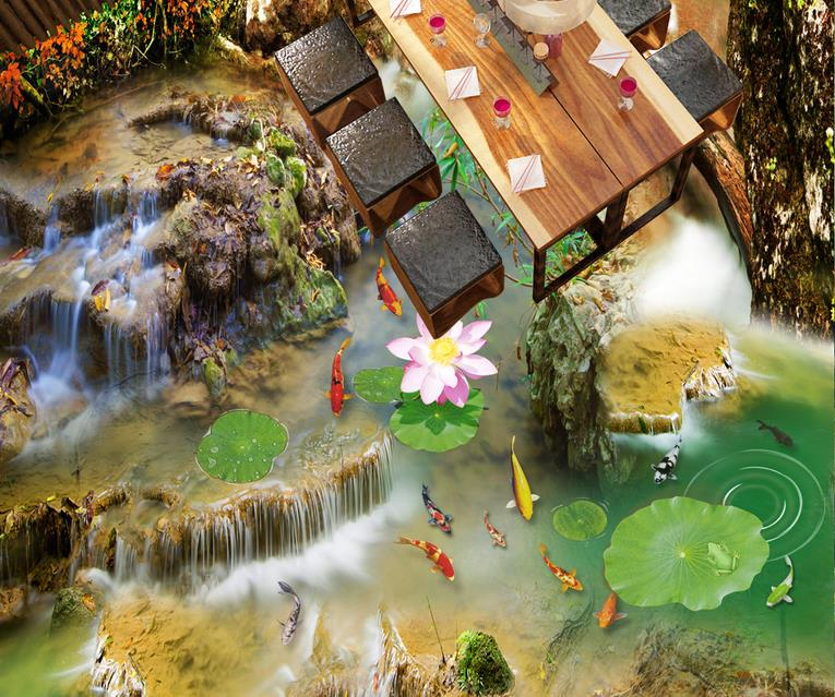 3d flooring waterproof wallpaper custom 3d flooring Lotus carp self adhesive mural wallpaper 3d floor tiles living room free shipping 3d carp lotus pond lotus flooring painting tea house study self adhesive floor wallpaper mural