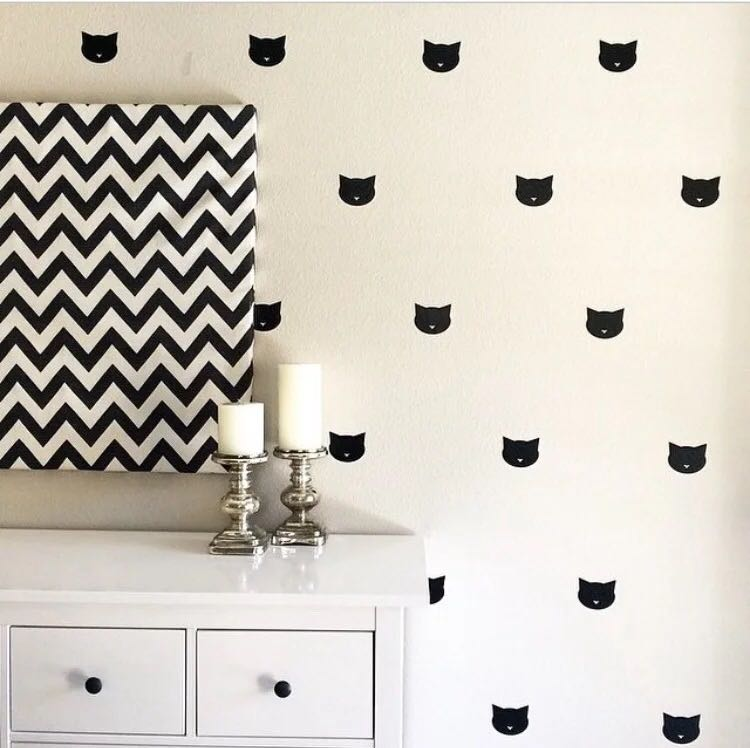 60pcs 5cm cute cat face PVC wall sticker removable decal sticker for baby room bed back ground wall decoration ...
