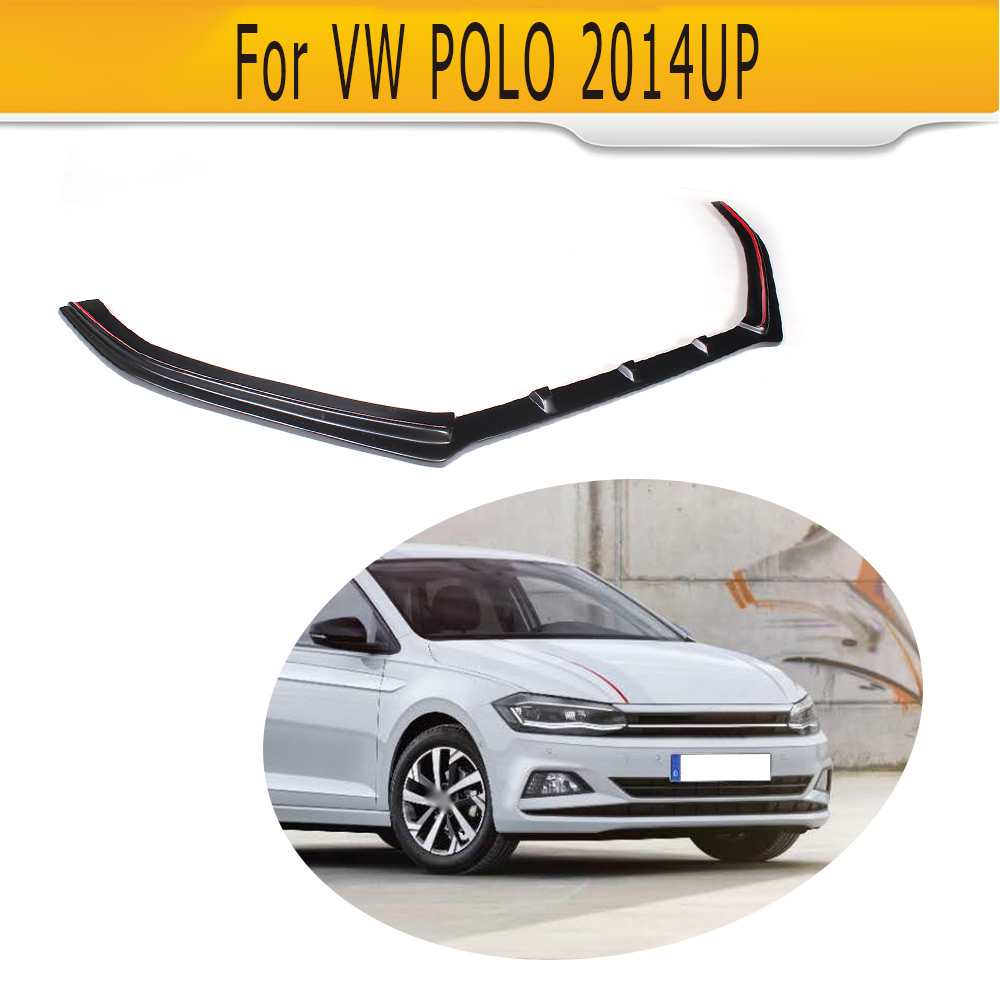 Pu Unpainted Car Front Bumper Lip Spoiler Apron For Vw Polo 2004 Audi A8 Conversion Standard Hatchback 4 Door Only 14 16 Non Gti R