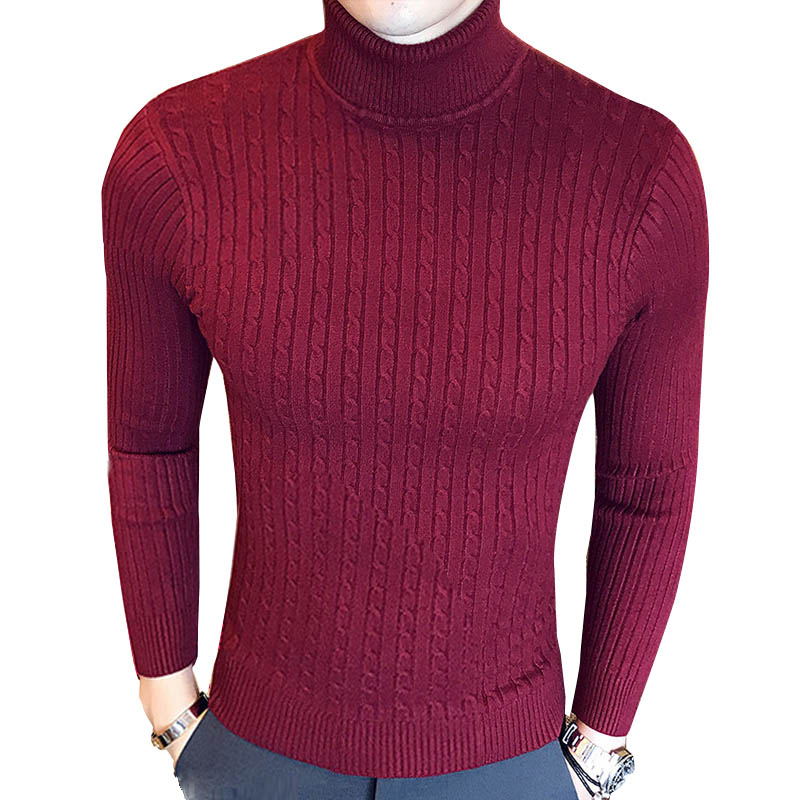Autumn Winter New Fashion Warm Sweater Men Turtleneck Mens Sweaters Slim Fit Black White Elasticity Pullover Men Knit Double Col