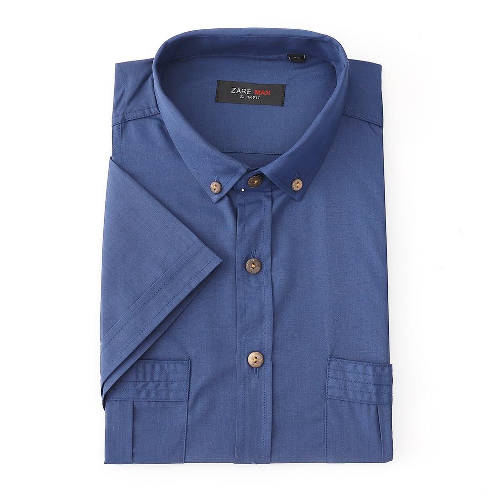 Casual Men's Slim Fit s Shirt Short Sleeve Stylish Shorts Summer Single Breasted Blue Rugular Shirt