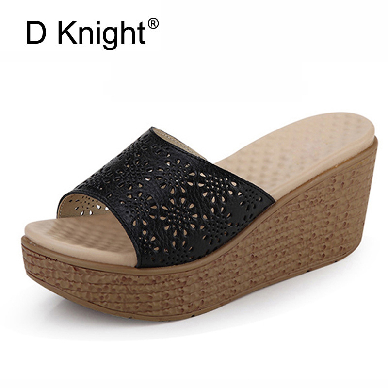 Summer Rubber Sandals Split Leather Beach Wedges Slides Slip On Casual Creepers Platform Shoes Woman Sweet High Heels Slippers choudory bohemia women genuine leather summer sandals casual platform wedge shoes woman fringed gladiator sandal creepers wedges