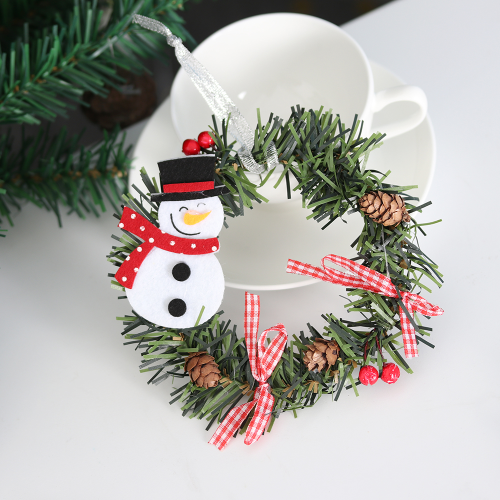 Small Christmas Wreaths.Us 0 94 28 Off New Small Christmas Wreath Cartoon With Pines Merry Christmas Wreaths Mini Xmas New Year Garland Nice Gift Party Ornaments In