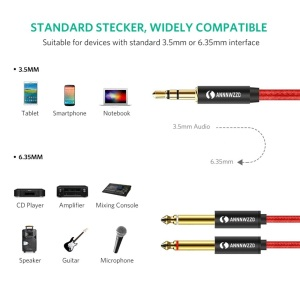 Image 4 - Audio Cable 3.5mm to Double 6.35mm Aux Cable 2 mono 6.5 Jack to 3.5 Male  for Phone to Mixer Amplifier 6.35 Adapter