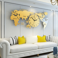 Modern Design Large Wall Clock Acrylic 3D Sticker Metal Silent Glass Clock Luxury Hanging World Map Clocks Wall Watch Home Decor