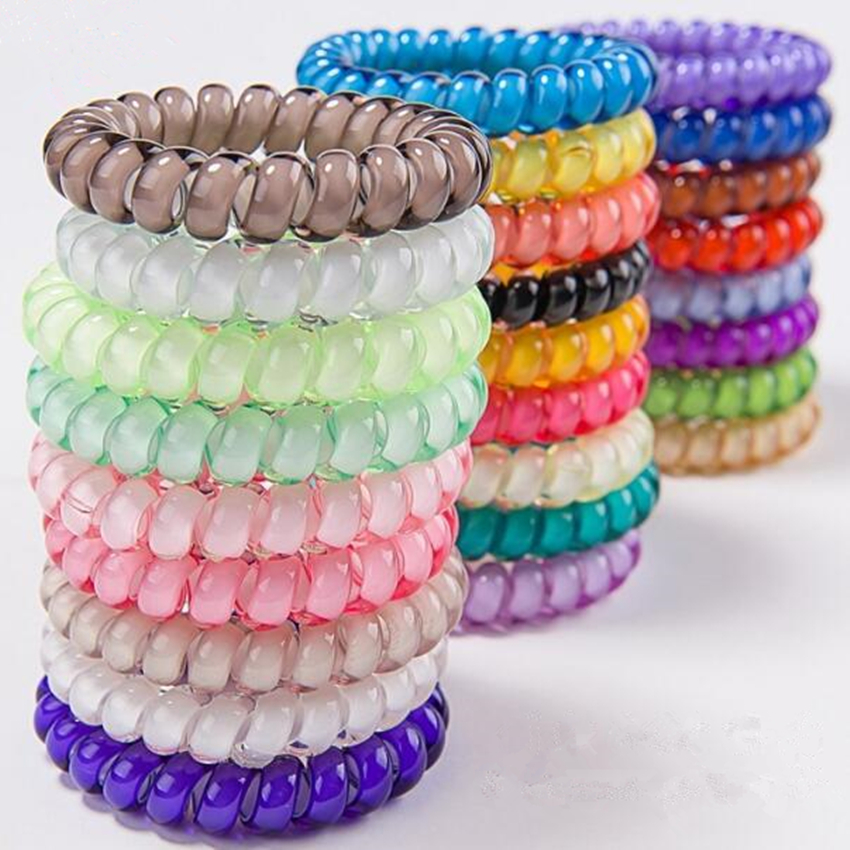 High Quality 5cm Telephone Wire Coil Elastic Band 25pcs 25 Colors Hair Tie Hairband Ponytail Holder Bracelet Women Scrunchies in Women 39 s Hair Accessories from Apparel Accessories