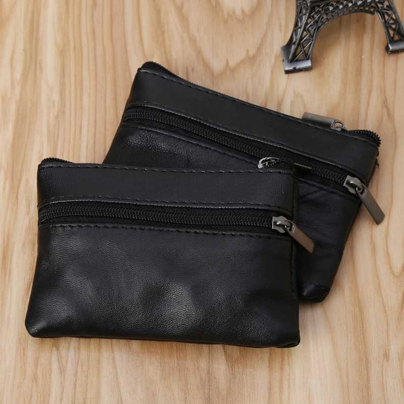 Fashion Soft Men Women Card Key Holder Zip Leather Wallet Pouch Bag Purse Gift 2019 New Design Coin Purse