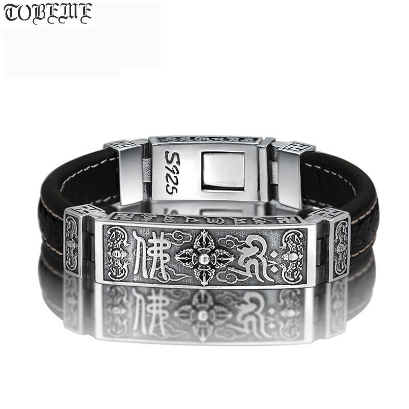 100 925 Silver Tibetan Dorje Bracelet Fine Leather Buddhist Vajra Symbol Bracelet Pure Silver Tibetan Six