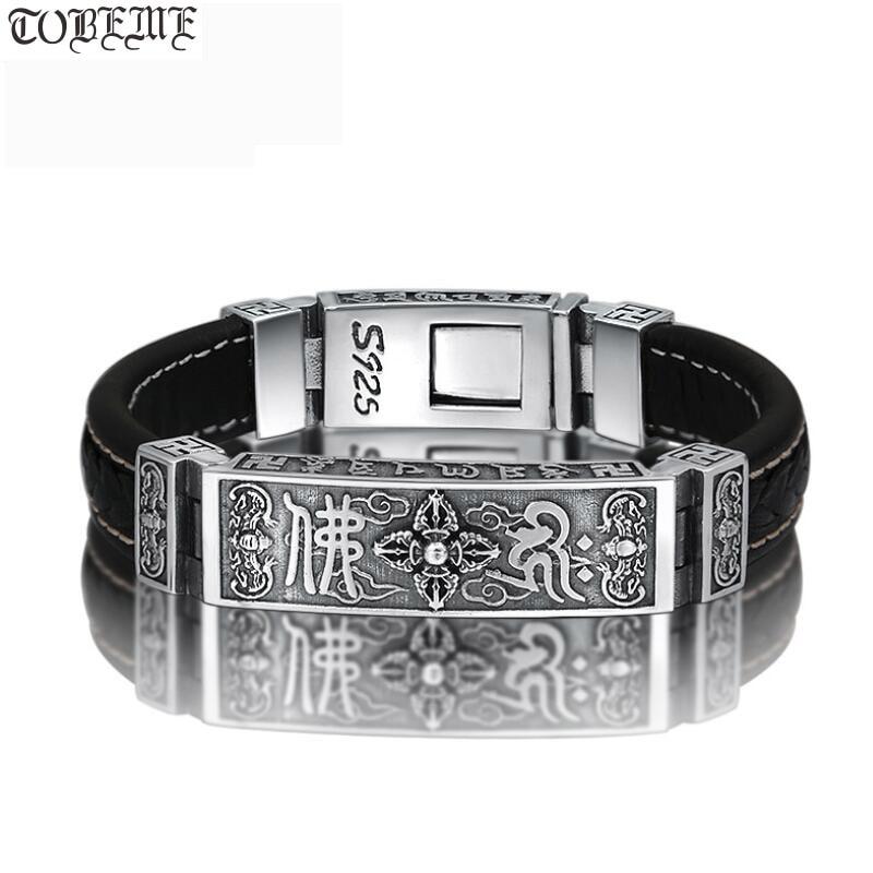 100% 925 Silver Tibetan Dorje Bracelet Fine Leather Buddhist Vajra Symbol Bracelet Pure Silver Tibetan Six Words Bracelet-in Chain & Link Bracelets from Jewelry & Accessories    1