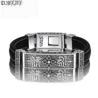 100% 925 Silver Tibetan Dorje Bracelet Fine Leather Buddhist Vajra Symbol Bracelet Pure Silver Tibetan Six Words Bracelet
