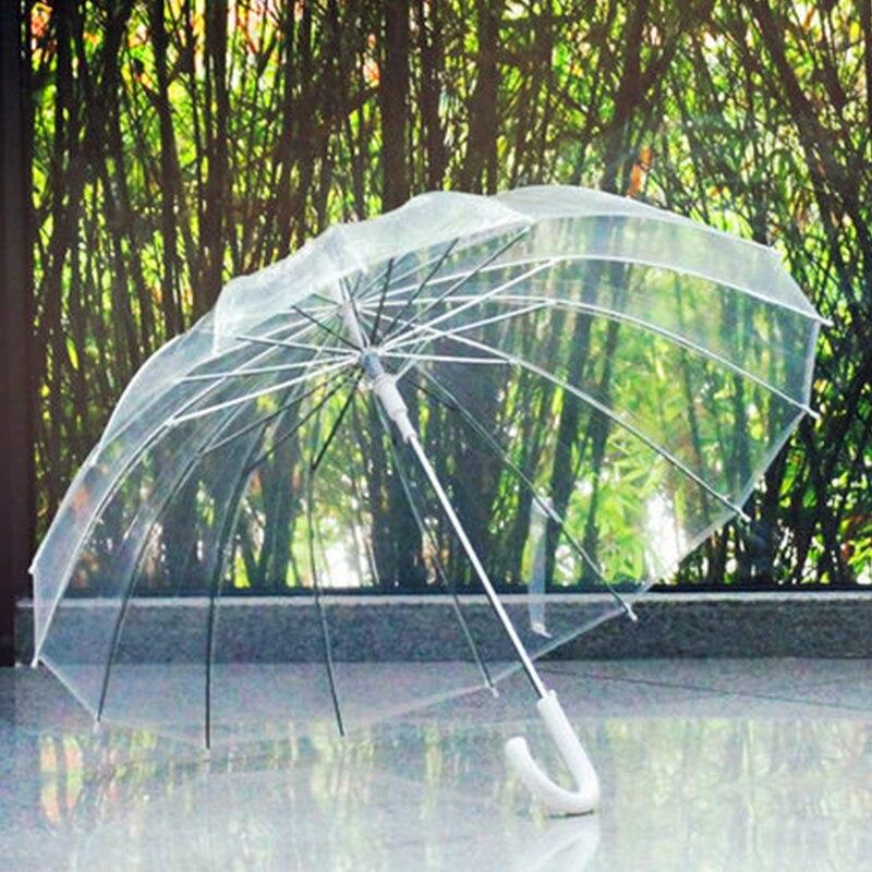 2017 Fashion 16 Rib Transparent Umbrellas Male Female Rain Long handle Straight Stick Umbrella Women Men