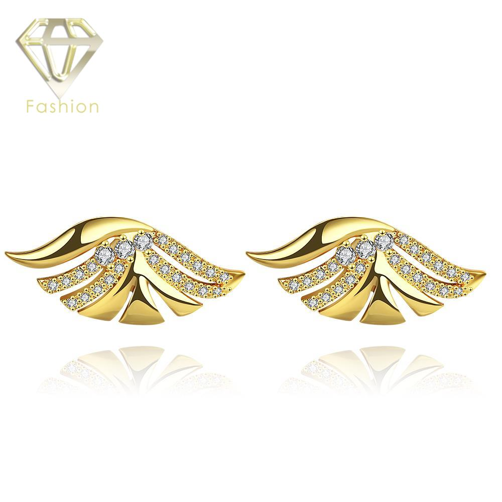 New Design Geometrical Wing Shaped Gold Color with AAA Cubic Zirconia Stud Earrings Jewelry for Women