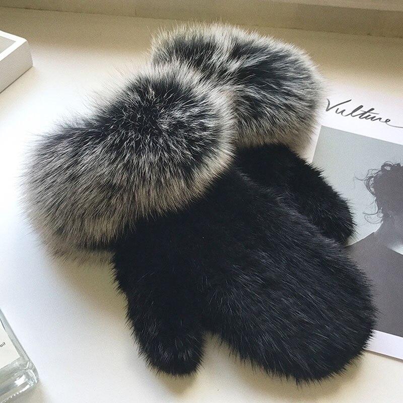 Gants en fourrure de vison véritable tricotés HSPL mode avec doigt dames gant d'hiver avec manchette en fourrure de renard gants chauds pour femmes véritable fourrure de vison
