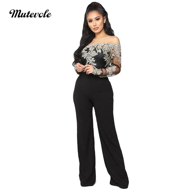 0ee3cdf715a3 Mutevole Womens Wide Leg Off Shoulder Jumpsuit Black Mesh Long Sleeve Slash  Neck Jumpsuit Romper Lace