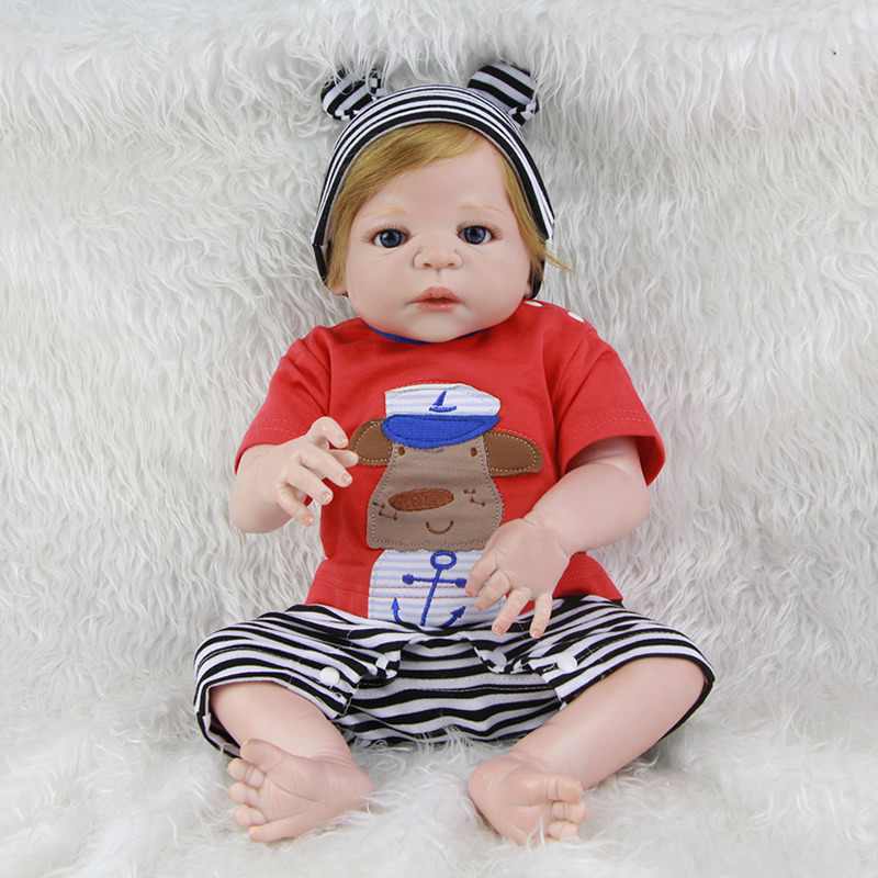 Newest Style 23 Inch Handmade Boy Baby Doll Rooted Human Blond Hair Waterproof Realistic Babies Toy