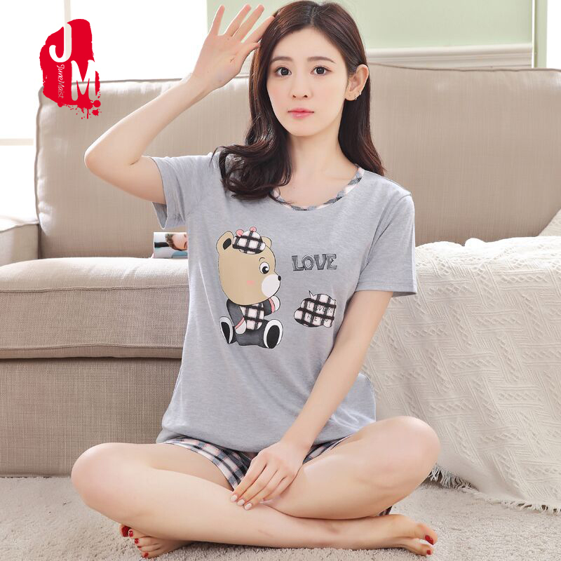 Plus Size M-XXX Short Pants + Short Sleeve Tops   Pajamas     Sets   100% Cotton Nightwear Cartoon Pyjamas Women Summer Letter Sleepwear