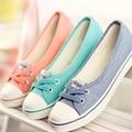 Женская Обувь Балетки Мокасины Вскользь Дышащая Женщин Квартиры Скольжения На Мода 2017 Холст Квартиры Обувь Женская Низкие Мелкая Рот A305