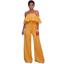 4c35fdc26e8 Ladies Red White Elegant Lace Ruffles Wide Leg Jumpsuit Off Shoulder  Jumpsuits Overalls For Women Summer Sexy Rompers Long Pants