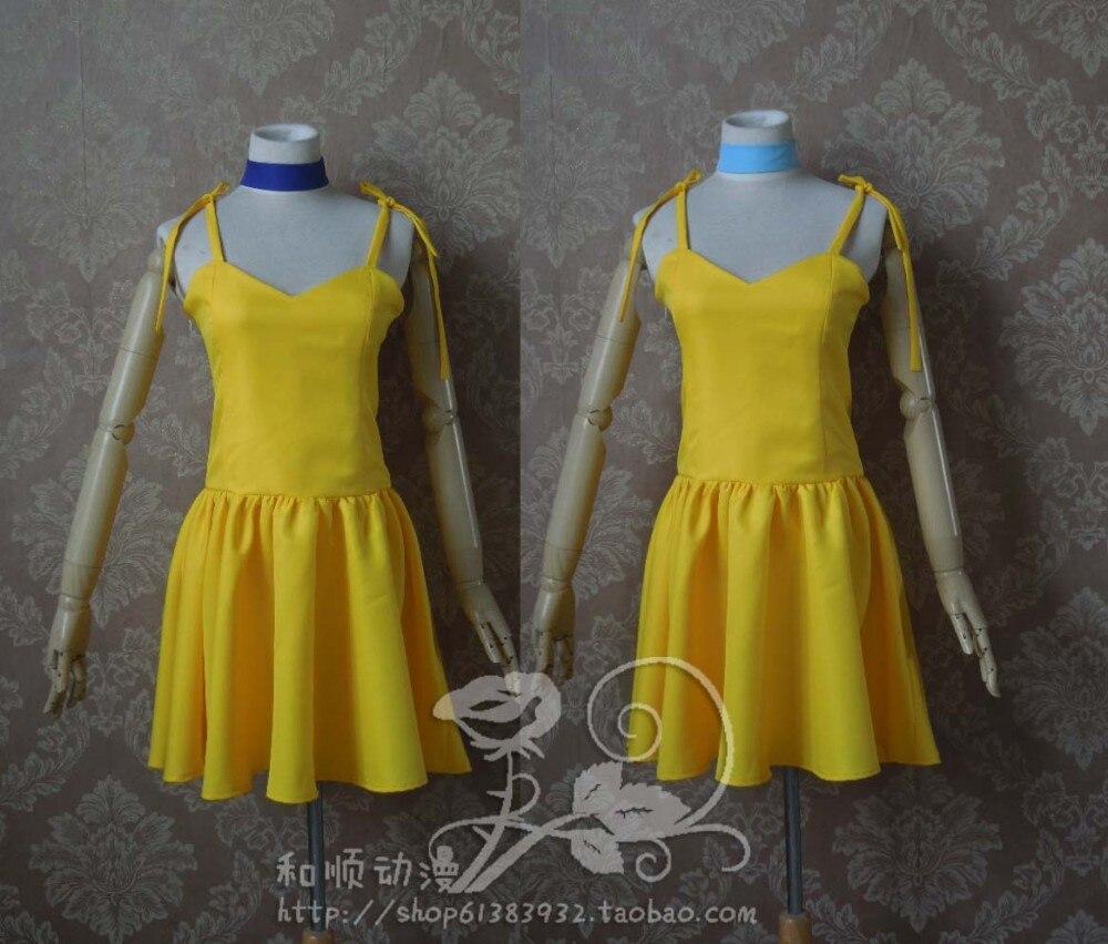 Free Shipping Neon Genesis Evangelion Asuka Langley Soryu Yellow Dress Cosplay{