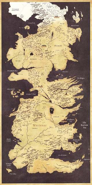 Game Of Thrones World Map Westeros And Essos Tv Poster Game Poster
