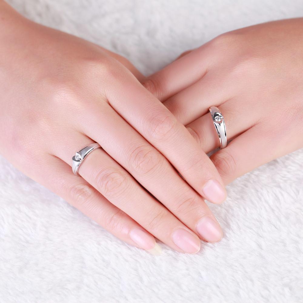 GVBORI women ring men ring couple\'s ring Natural diamond heart ...