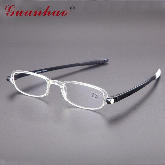 a191b9f0483 Guanhao Ultralight Rotate 360 Foldable Men Women Plastic Frame Portable  Slim Business Reading Glasses 1.0 1.5