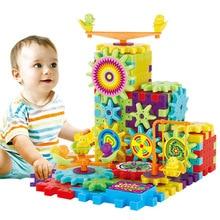 81Pcs Műanyag Elektromos Gearek 3D Puzzle Tégla Elektromos Építő készlet Oktató játékok Gyerekeknek Gyermek születésnapi ajándékok