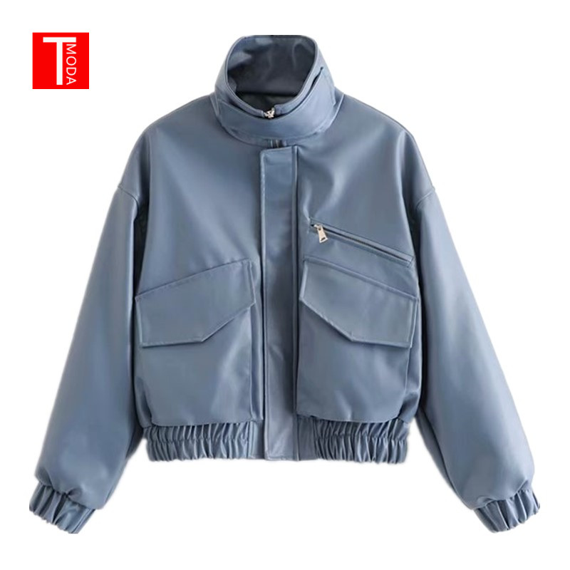 2019 New Autumn   Leather   Jacket Women Solid Color Mandarin Collar Zippers Short Female Faux   Leather   Jackets High Quality