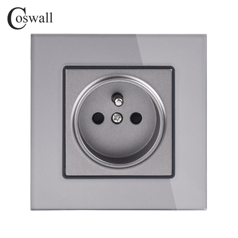 coswall-crystal-glass-panel-wall-power-socket-grounded-16a-french-standard-electrical-outlet-black-white-gold-grey-colorful