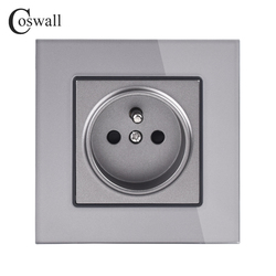 Coswall Crystal Glass Panel Wall Power Socket Grounded 16A French Standard Electrical Outlet Black White Gold Grey Colorful