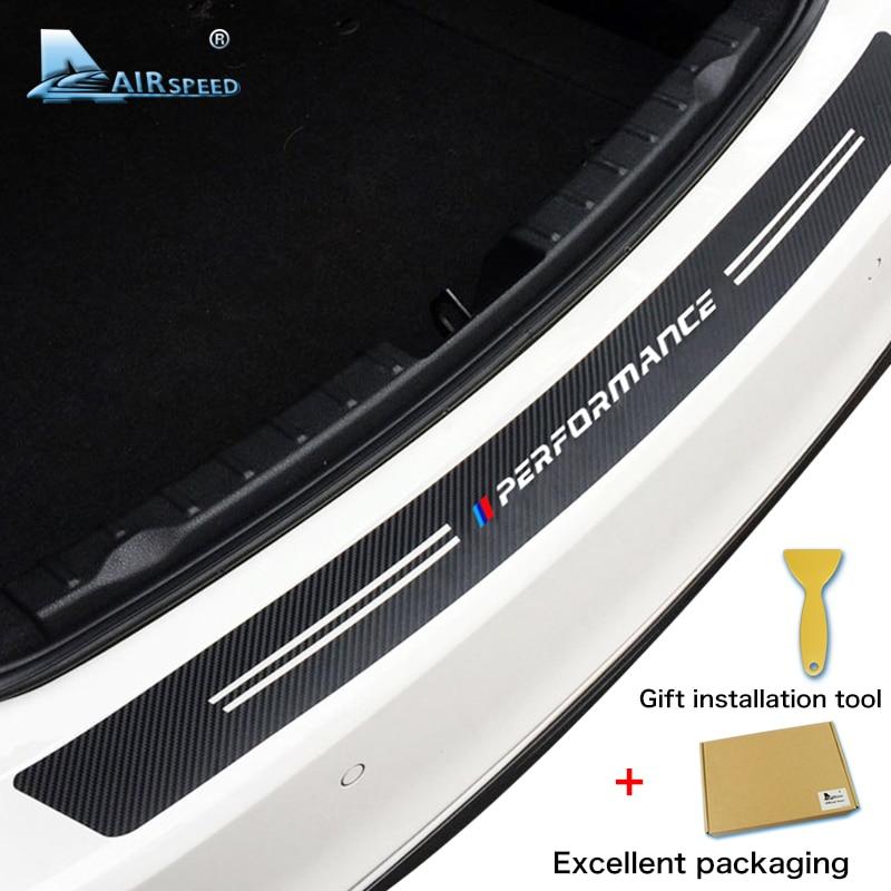 Airspeed Carbon Fiber Car Rear Trunk Stickers M Performance For BMW E46 E90 E36 E53 F20 F30 F10 E60 X5 X1 X6 M3 M5 Accessories