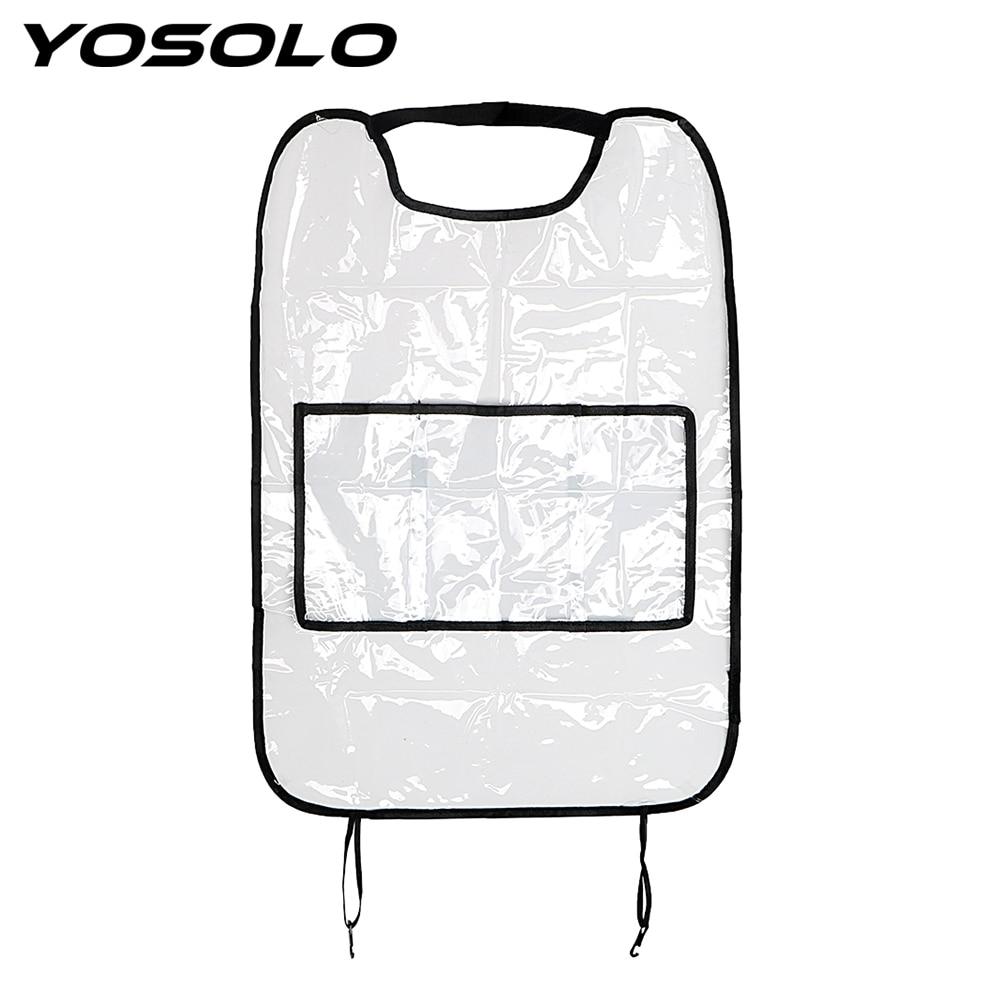 YOSOLO Full Transparent Car Rear Seat Anti-kick Pad Car Seat Covers Prevent For Children Kick Mud Seat Back Protector