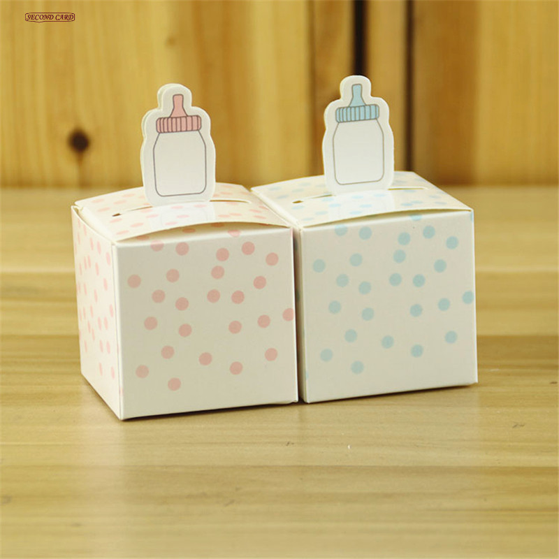 new 50pcs pinkblue babyu0027s bottle design candy box gift box for baby shower event party favors box