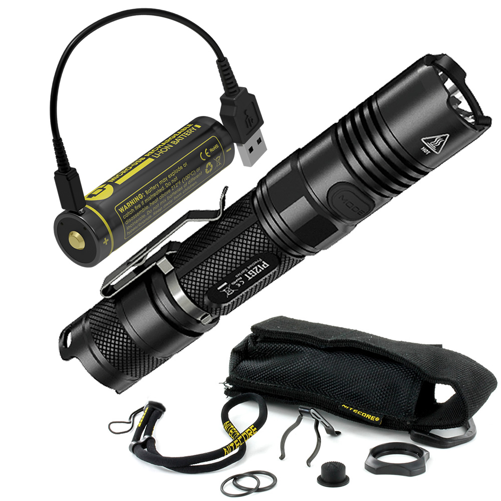 NITECORE P12GT + 18650 Micro USB Charging Port Battery +USB Cable 1000Lms Tactical Flashlight Outdoor Camp Hunting Free Shipping
