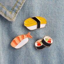 Enamel pins Cartoon Japanese Sushi Brooch set Metal Button Pin Denim Jacket Backpack T-shirt Collar Lapel Pin Badge Jewelry Gift