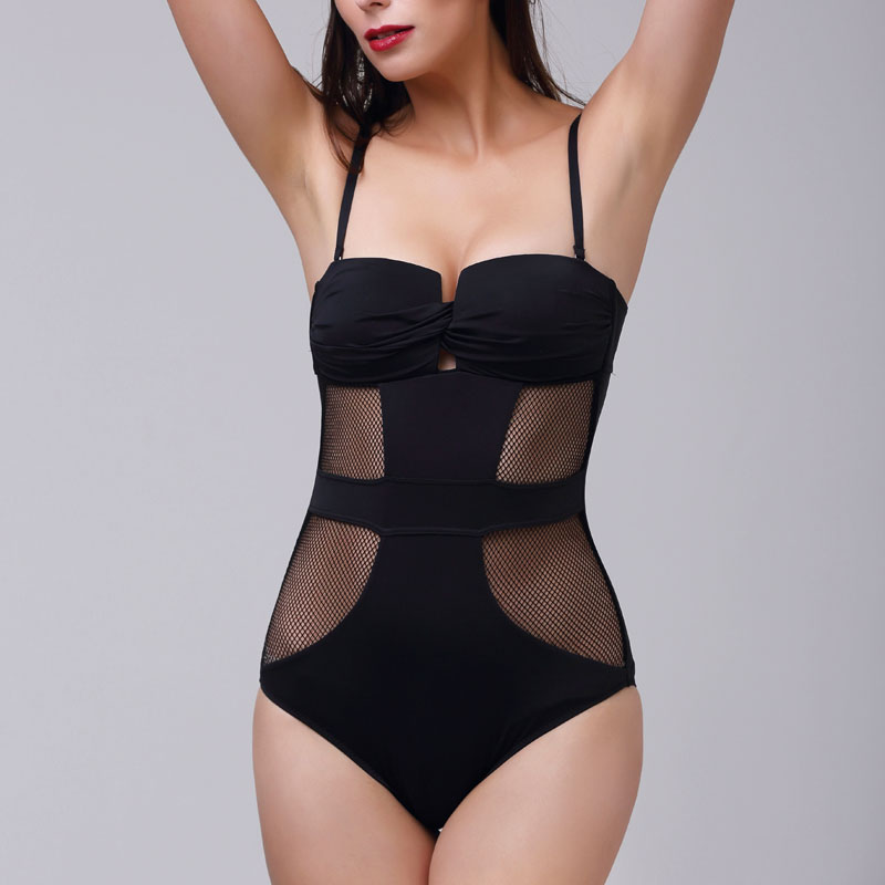 Brand Backless Monokini One Piece Ladies Swimsuit 2017 Sexy Black Mesh Hollow Out Swimwear Women Apparel Slimming Bathing Suit black blue one piece swimsuit monokini backless sexy leotard women plus size bathing suit top quality transparent mesh swimwear