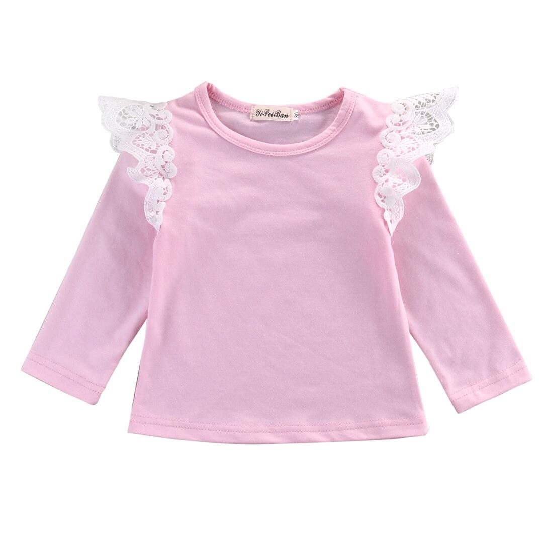 2017 Autunno Bambino Appena Nato Delle Ragazze Del Bambino Abbigliamento Per Bambini In Cotone Del Merletto Volare Manica Lunga T-shirt Top Outfit Camicetta