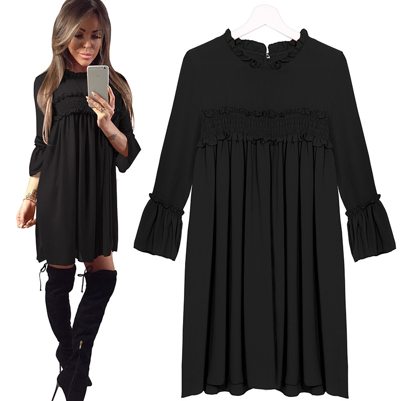 2018 Fashion Long Sleeve Mini Dress Womens Autumn Winter Dresses dress  chiffon ropa mujer Women loose Casual Folded edge Party -in Dresses from  Women s ... d8308d36f392
