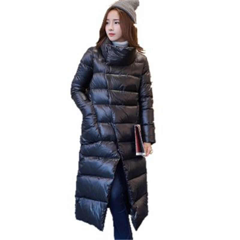 2016 New Winter Women Coat Female X Long Warm Cotton Down Jacket Fashion Split Design Women