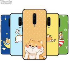 Cute Corgi cartoon Dog Black Case for Oneplus 7 7 Pro 6 6T 5T Silicone Phone Case for Oneplus 7 7Pro Soft Cover Shell