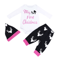 3pcs Baby Clothing Set Christmas Custome Cotton Long Sleeve Tops Romper Reindeer Pants Hat Outfits Infant
