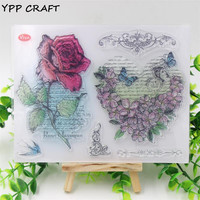 YPP CRAFT Red Rose Transparent Clear Silicone Stamp/Seal for DIY scrapbooking/photo album Decorative clear stamp sheets